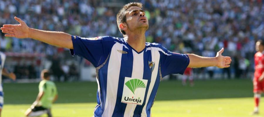 Hidalgo, celebrant el primer gol contra el Tenerife   Cedida