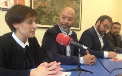 Soraya de las Sías (Santa Maria la Real), Joan Cruz (Fundació Telefónica) i Juli Fernàndez a la presentació d'e la Llançadora