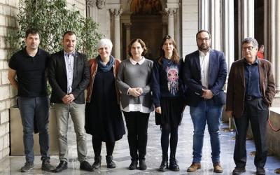 Els set alcaldes a la presentació de l'Associació de Muncipis per la Gestió Pública de l'Aigua