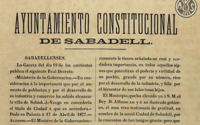 Fragment del ban publicat per l'Ajuntament de Sabadell Foto: Arxiu històric de Sabadell