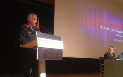 Josep Guillot durant el seu discurs del Dia de les Esquadres. Ràdio Sabadell
