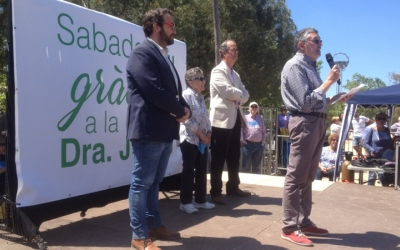 Juli Fernàndez, Joquima Júdez, Manuel Suárez president d'Atendis. Foto: Ràdio Sabadell