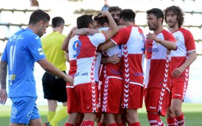 Juanjo Ciércoles celebra el seu primer gol com a arlequinat