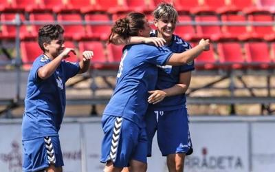 Sara Serna celebrant un gol a Montigalà | Pedro Salado (Futfem.cat)