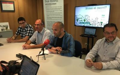 Xavi Cañadas, gerent de la TUS, els regidors Xavi Guerrero i Joan Berlanga i el president de la TUS, Paco Lòpez | Mireia Sans