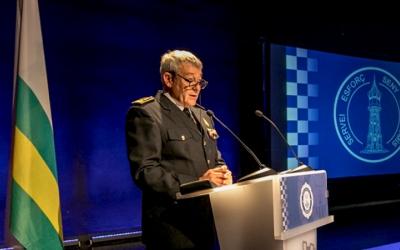 L'intendent major, Joan Antoni Quesada, a l'acte de reconeixement d'ahir al Centre Cívic de Sant Oleguer | Juanma Peláez
