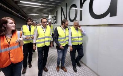 El conseller Rull, acompanyat de l'alcalde de Sabadell i el president dels FGC, Enric Ticó