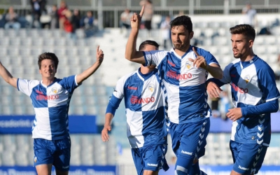 Lucas Viale celebrant el seu gol contra l'Atlético Levante | Roger Benet (CES)