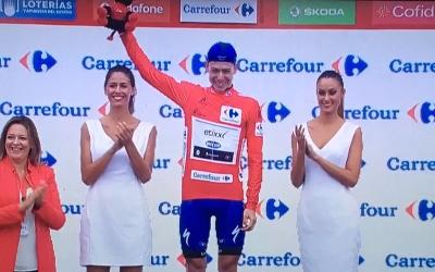 David de la Cruz amb el jersei de líder de la general de La Vuelta l'any passat