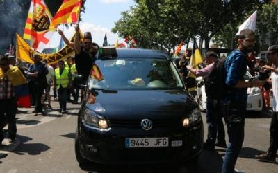 Un dels taxistes catalans en protesta | ACN
