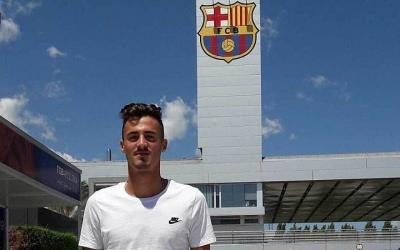 Jose Luis Trápaga el dia del seu fitxatge pel FC Barcelona
