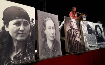 Montse Venturós, durant l'acte a l'auditori del carrer Lacy/ Karen Madrid