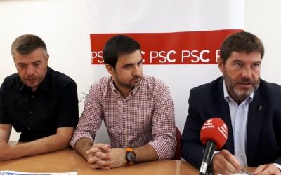 Ayuso (dreta), Sánchez (esquerra) i Pol Gibert han exposat avui la seva visió de la mobilitat/ Karen Madrid