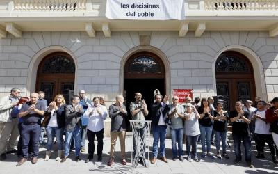 Acte en què es va anunciar l'aturada institucional, dimecres passat/ Ajuntament de Sabadell