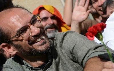 Maties Serracant, durant la mobilització d'aquest matí/ Roger Benet