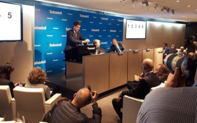 El conseller delegat del Banc Sabadell, Jaume Guardiola, en la presentació de resultats de l'entitat.