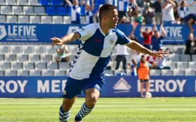 Felipe Sanchón celebra el gol de la victòria contra l'Atlètic Balears | Sandra Dihor