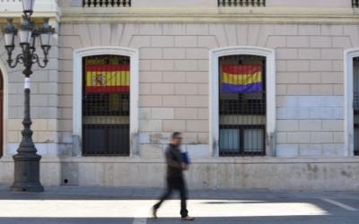 La bandera republicana al despatx de Guanyem de l'Ajuntament.
