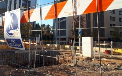 Estat actual de les obres en superfície de l'estació de Sabadell Centre/ Karen Madrid
