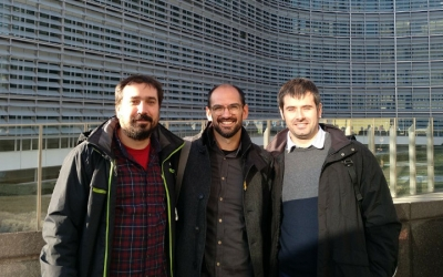 Serracant, amb l'alcalde de Cerdanyola, Carles Escolà, i el de Celrà, Dani Cornellà/ Cedida