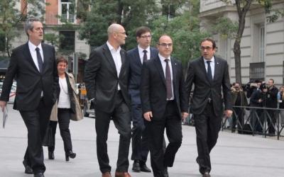 Imatge dels consellers arribant a declarar a l'Audiència Nacional/ ACN