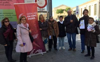 Imatge de la roda de premsa d'En Comú Podem al Vapor Llonch | Foto Ràdio Sabadell