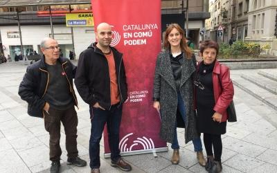 Joan Berlanga, Jéssica Albiach i Marta Campoy durant l'acte d'En Comú Podem.  | Foto: Ràdio Sabadell