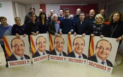 Membres del PSC a la seu del partit a la Gran Via |Foto: Roger Benet