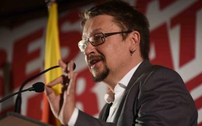 Xavier Domènech durant el míting a la Fira Sabadell. | Foto: Roger Benet