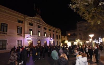 La plaça Sant Roc diurant la concentració. | Foto: Roger Benet