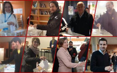 Muntatge dels candidats sabadellencs que han votat aquest 21D. Foto: Roger Benet