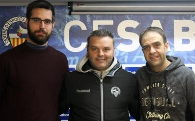 Àngel Codina, Jordi Bransuela i Raul Rodríguez ahir en la seva presentació com a nou entrenador del Sabadell femení