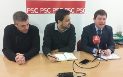 Els membres del PSC a la roda de premsa | Pau Duran