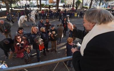 El mossèn ha beneït els animals a la plaça Taulí per la Diada de Sant Antoni. Foto: Roger Benet