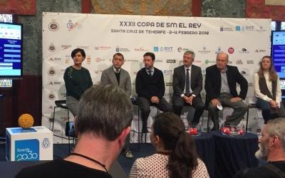 Imatge del sorteig de la Copa del Rei celebrat aquest migdia a les Canàries