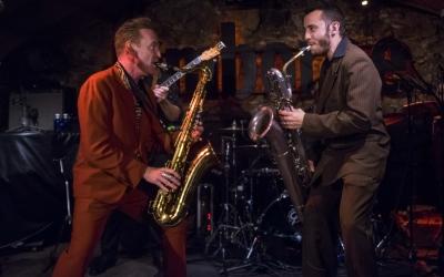 Dani Nel·lo i Pere Miró a l'escenari del Jamboree (Barcelona) | Foto: Mas i Mas