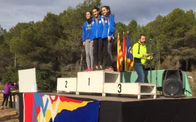 Laia Casajona, en aquesta foto en el més alt del podi, va acabar quarta a l'Estatal de Gijón de cros | Club Atletisme Gavà