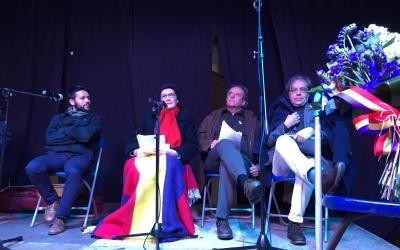 Pablo Marín, Antonina Rodrigo, Josep Ma Roviralta i Josep Ache durant l'acte   Foto: Ràdio Sabadell