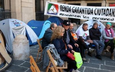 Imatge d'una de les mobilitzacions per aconseguir la renda mínima garantida.