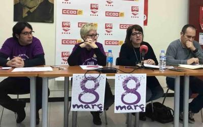 Els sindicats Comissions Obreres i UGT convoquen la vaga de 2 hores del 8 de març. Foto: Roger Benet