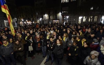 La plaça Sant Roc ha tornat a ser escenari de mobilitzacions independentistes/ Roger Benet