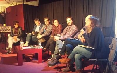 Els membres de la candidatura de Domènech a l'Espai Àgora | Pau Duran