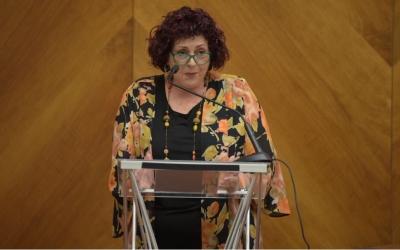 Amparo Moreno durant el pregó de la Festa Gran | Roger Benet
