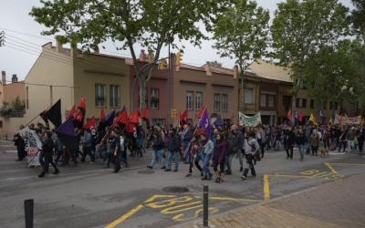 Els manifestants, a l'arribada a la Caserna/ Roger Benet