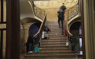 Els membres del CDR van ocupar l'Ajuntament des de divendres 15 fins l'endemà al migdia/ Roger Benet