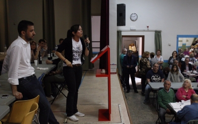 Marta Farrés durant l'acte d'aquest migdia a Sant Julià | @PSCSabadell