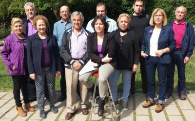 Marta Morell acompanyada de la resta de membres de la candidatura Sentim Sabadell