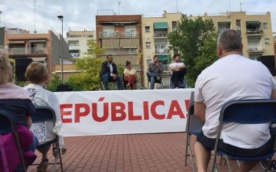 Fernàndez, Talegón, Fachín i Rufián damunt de l'escenari governat per un llaç groc | Ràdio Sabadell