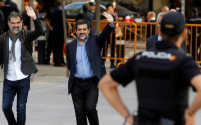 Jordi Cuixart i Jordi Sànchez a les portes del Tribunal Suprem | Cedida