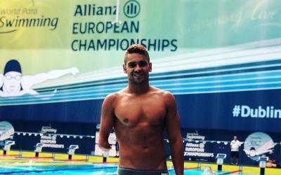 Óscar Salguero a la piscina que acull els Europeus de Dublín 2018 | @oscarsalguero1